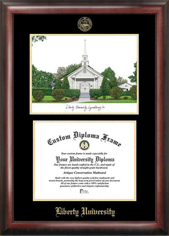 Liberty University 11w x 8.5h Gold Embossed Diploma Frame with Campus Images Lithograph