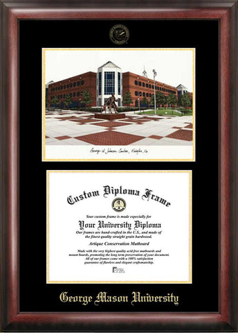 George Mason University 10w x 14h Gold Embossed Diploma Frame with Campus Images Lithograph