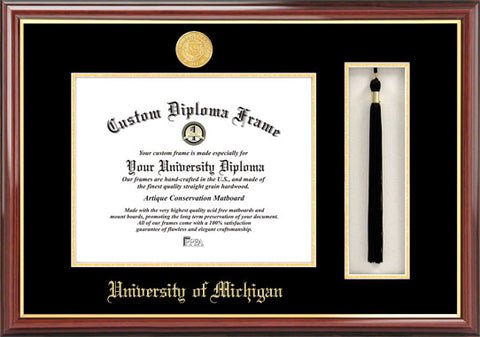University of Michigan Tassel Box and Diploma Frame
