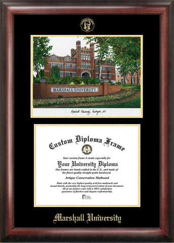 Marshall University 11w x 8.5h Gold Embossed Diploma Frame with Campus Images Lithograph