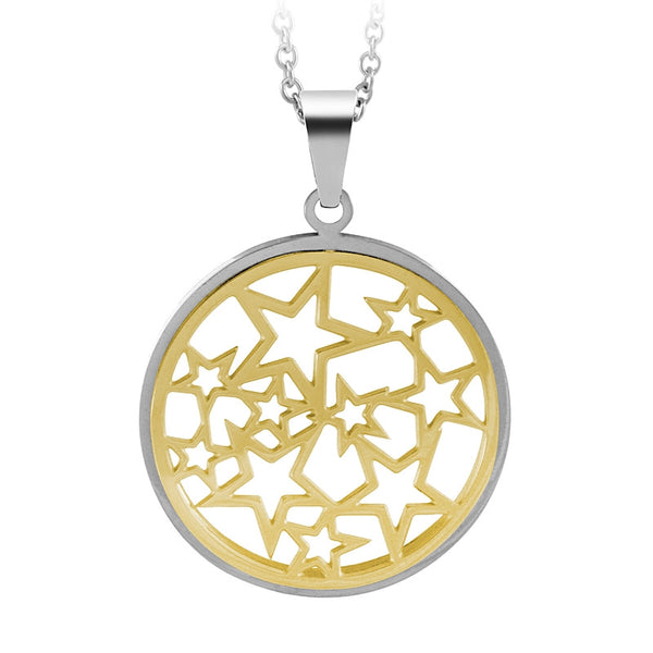555jewelry Stainless Steel 316L Pendant with chain necklace จี้สำหรับผู้หญิง (Yellow Gold/Steel)