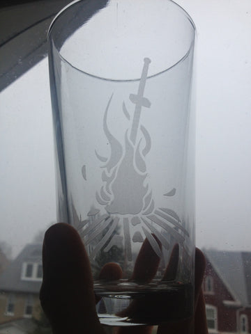Bonfire - Etched Glass