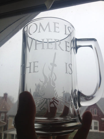 """Home is Where the Bonfire is"" - Etched Glass"