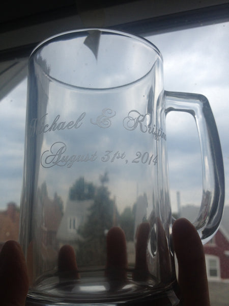 Personalized Name and Date Mug - Etched Glass