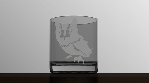 Animals - Screech Owl - Etched Glass