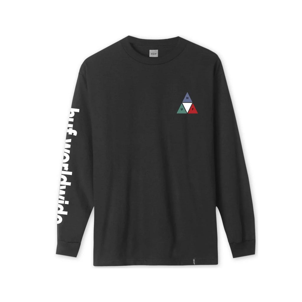 HUF Prism Long Sleeve T-Shirt Flatlay Front | Black