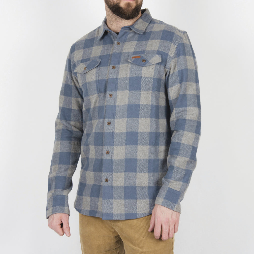 Passenger Clothing Vacant Flannel Shirt | Grey & Blue