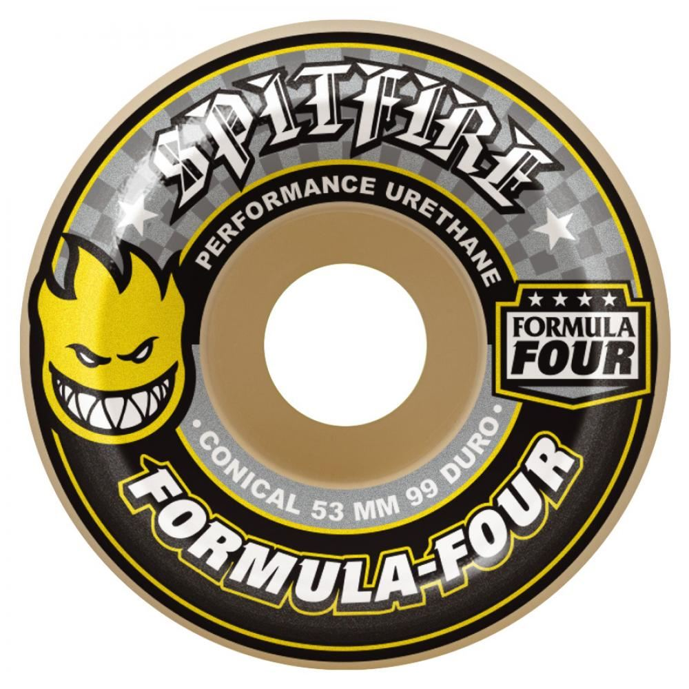 Spitfire Wheels Spitfire Formula Four Skateboard Wheels Conical Yellow Print 99DU | 54mm - TVSC