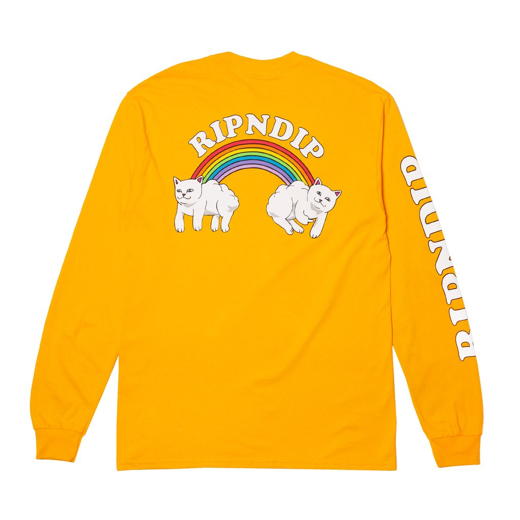RipnDip Rip N Dip Double Nerm Rainbow Long Sleeve T-Shirt | Gold - TVSC
