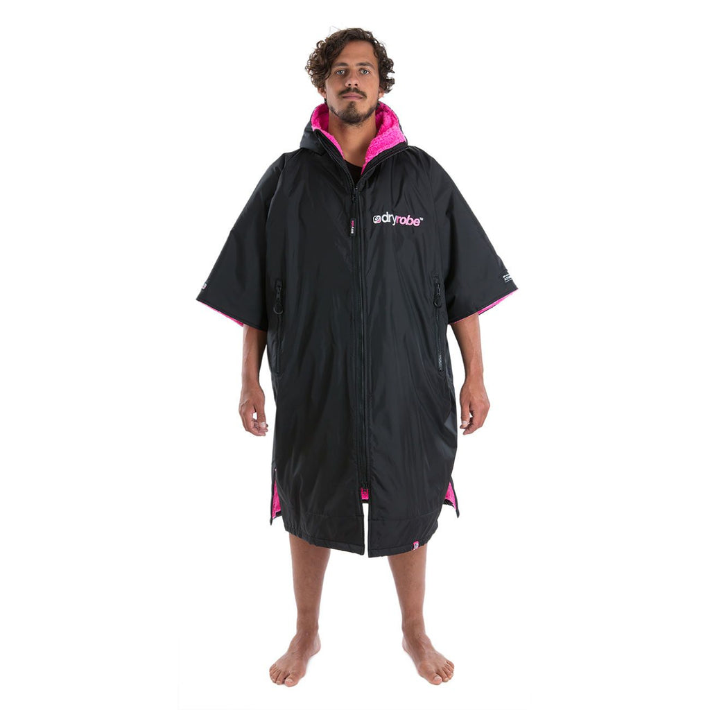 Dryrobe Dryrobe Advance Short Sleeve Black/Pink Adults Large - TVSC