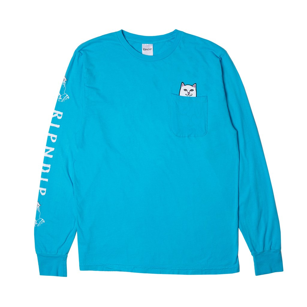 RipnDip Rip N Dip Lord Nermal Long Sleeve Pocket T-Shirt | Blue - TVSC