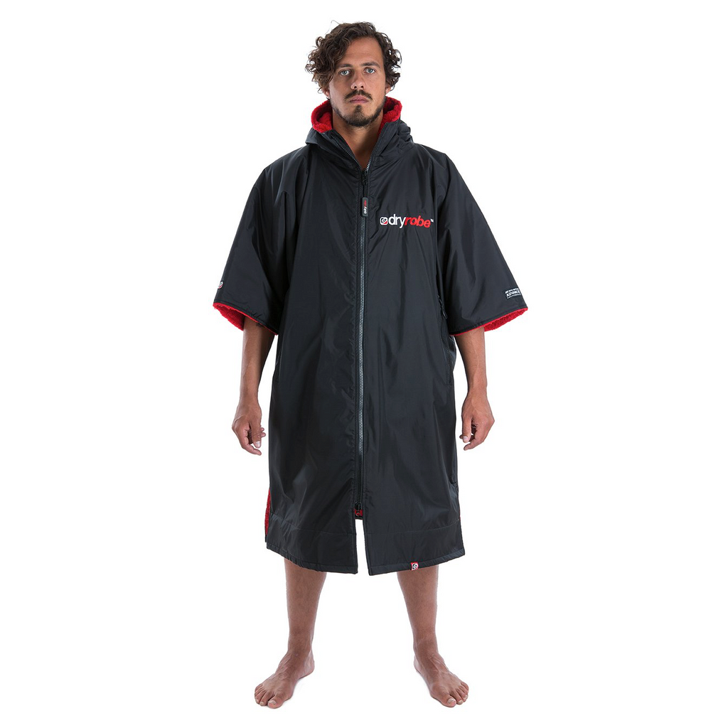 Dryrobe Dryrobe Advance Short Sleeve Changing Robe | Black & Red - TVSC