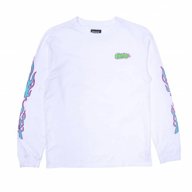 Rip N Dip Flaming Hot Long Sleeve Skate T-Shirt - White