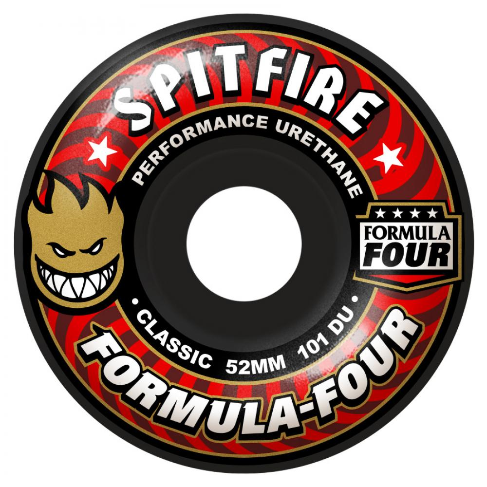 Spitfire Wheels Formula Four Classic Skateboard Wheels Black 101DU | 52mm - TVSC