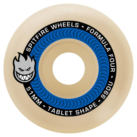 Spitfire Formula Four Tablet Skateboard Wheels 99D Blue | 51mm Skate Wheels