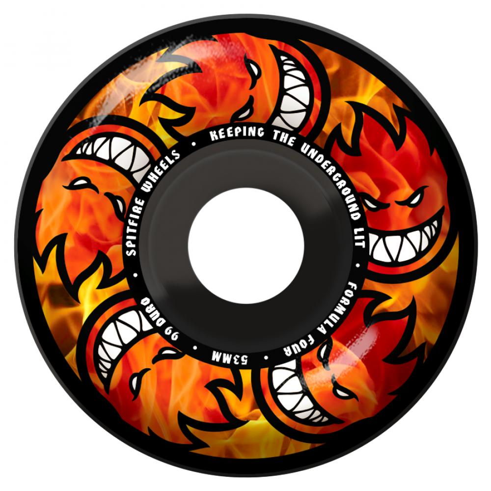 Spitfire Wheels Spitfire Formula Four Hellfire Skateboard Wheels Black Classic 99DU | 54mm - TVSC