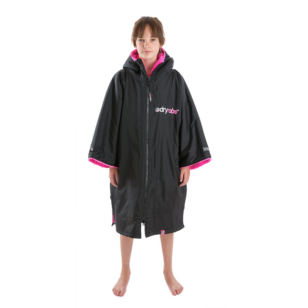 Dryrobe Dryrobe Advance Short Sleeve Changing Robe | Black & Pink - TVSC