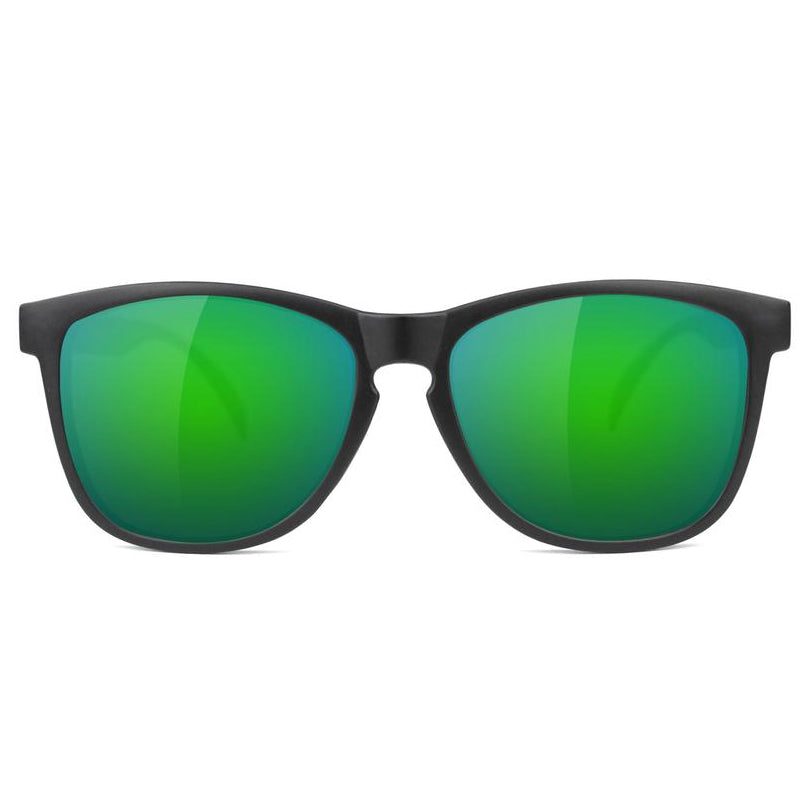 Glassy Glassy Deric Sunglasses | Matte Black & Green - TVSC