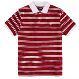 Magenta Striped Polo T-shirt | Red front
