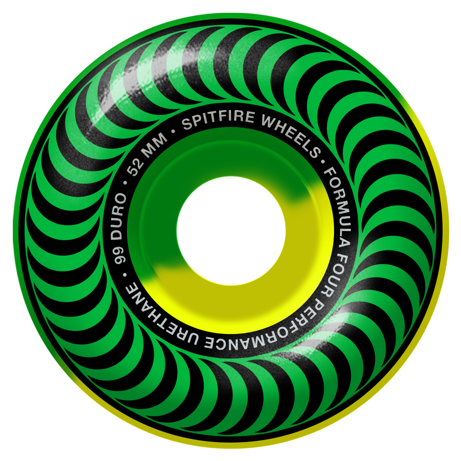 Spitfire Wheels Spitfire Formula Four Classic 50 50 Swirl 99 Green & Yellow Wheels | 52mm - TVSC