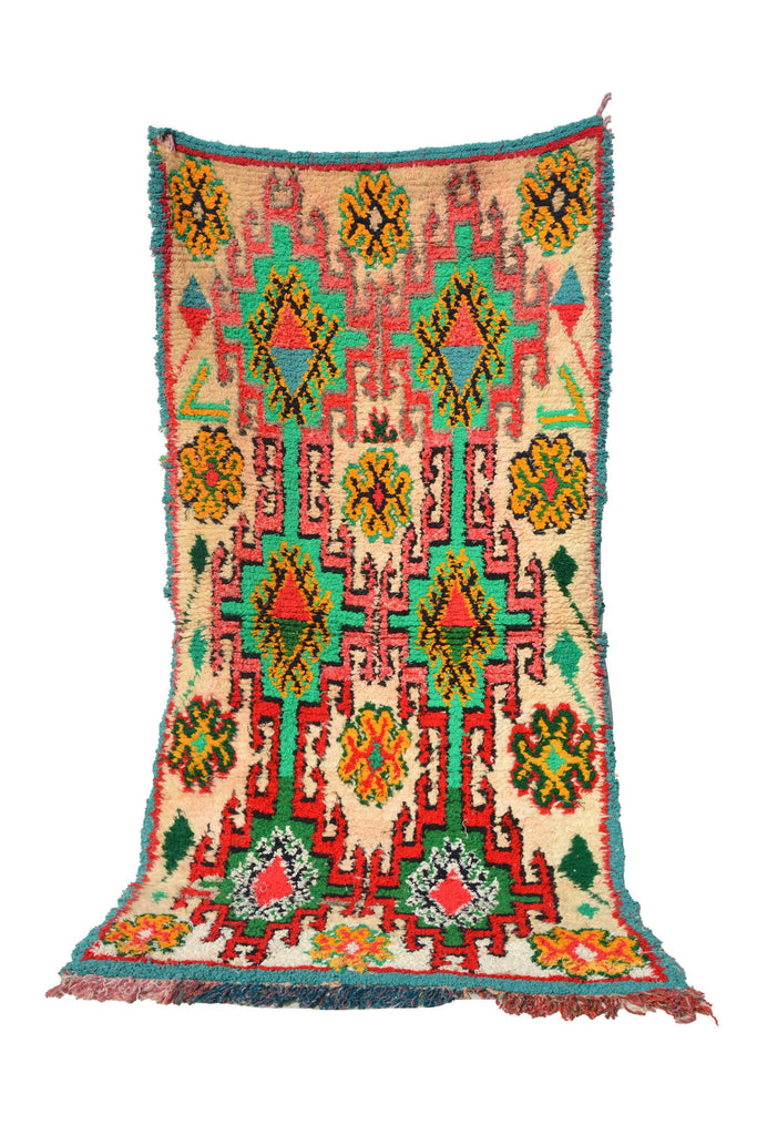 "Illuminate Collective handmade Vintage Moroccan Rug 1958 - 3'6"" x 7'3"" - 1.06m x 2.20m"