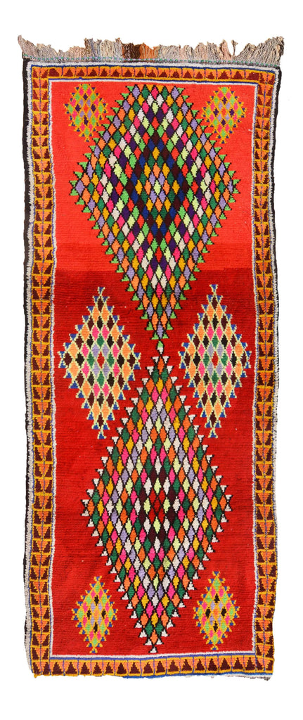 Illuminate Collective  handmade Vintage Moroccan Rug Ruby Red - 3'11 x 9'6 - 1.19m x 2.90m