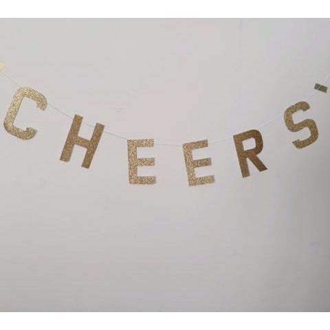 Cheers Gold Glitter Banner