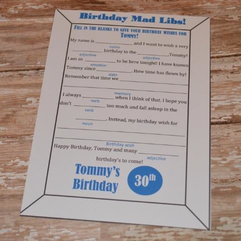 Mad Libs for Birthday Party