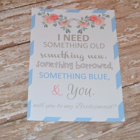 Something Blue Bridesmaid Card