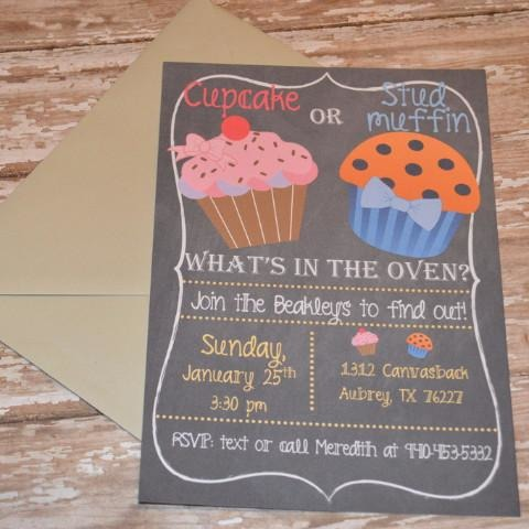 Cupcake or Stud Muffin Gender Reveal Invite