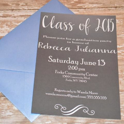 Graduation Black & White Invite