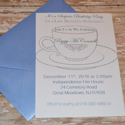 Tea Cup Birthday Surprise Invite