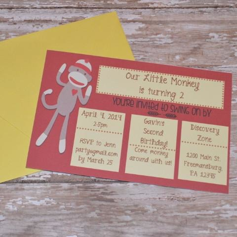 Sock Monkey Birthday Invite