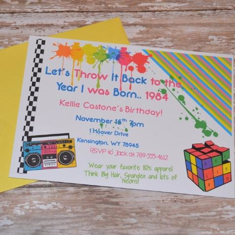 80's Theme Paint Splatter Birthday Invite