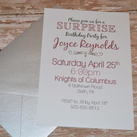 Surprise Simple Birthday Invite