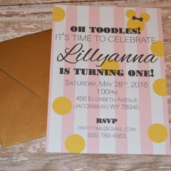Pink Stripe with Minnie First Birthday Invite