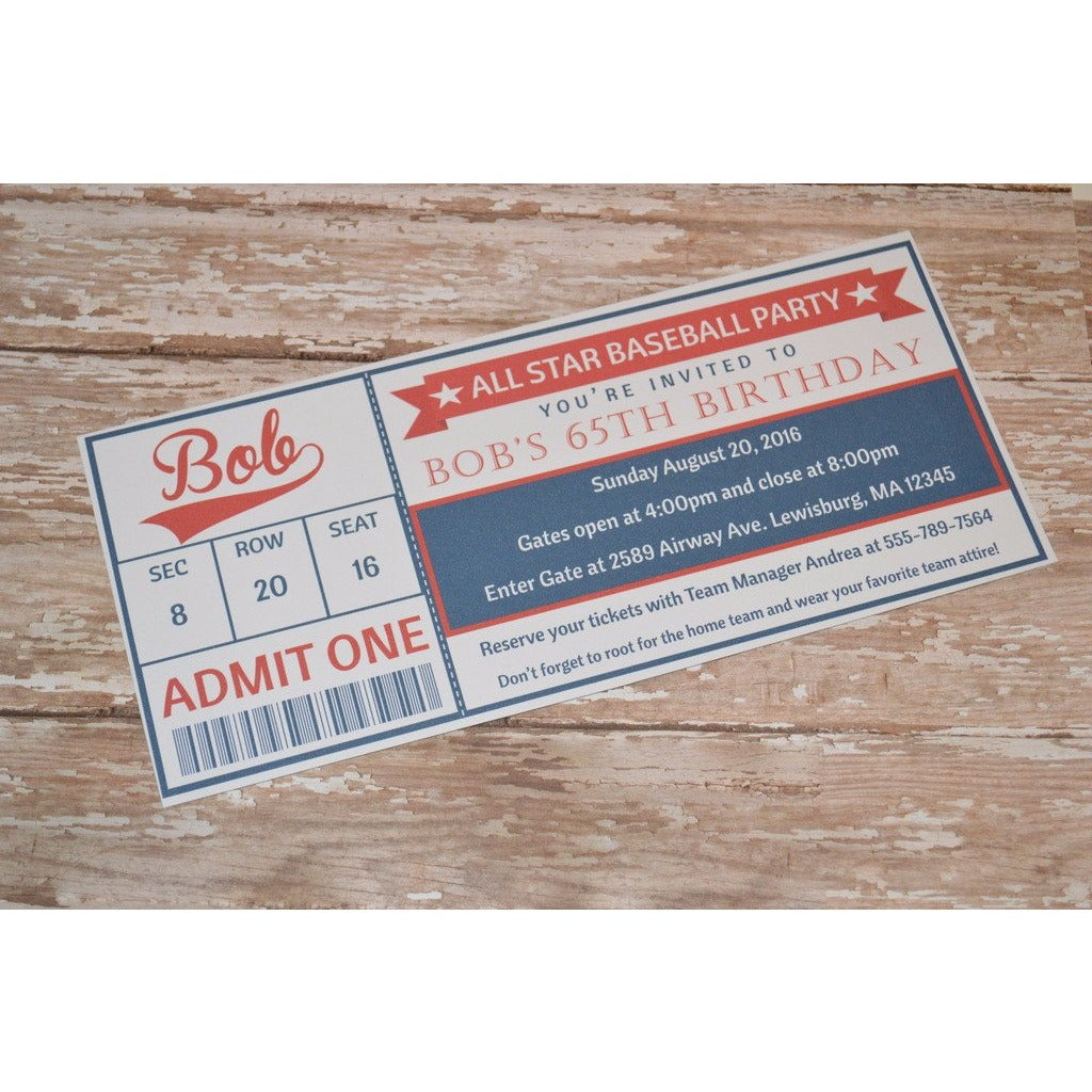 Baseball Ticket Birthday Party Invite