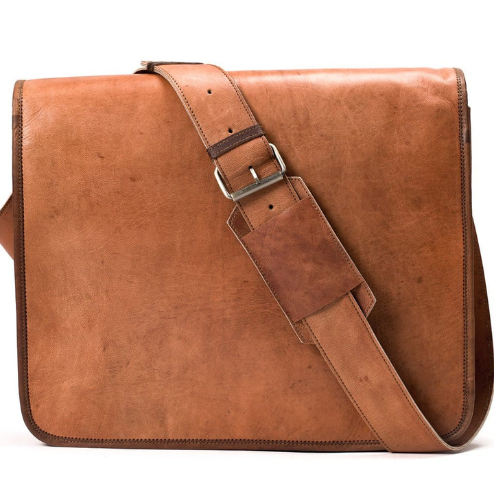 Camel Leather Bag: 12x16 Full Flap Messenger Far Horizon Traders