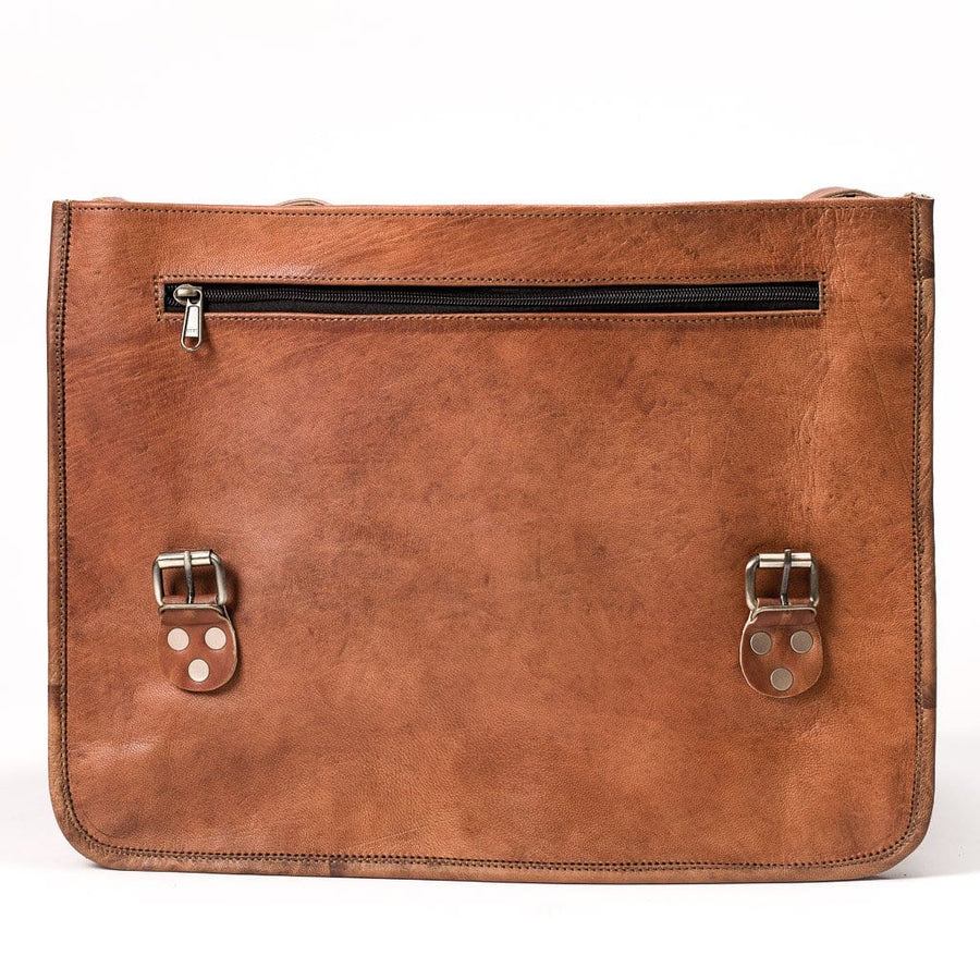 Camel Leather Bag: 12x16 Half Flap Far Horizon Traders