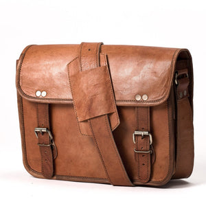 Camel Leather Bag: 8x12 Half Flap Far Horizon Traders