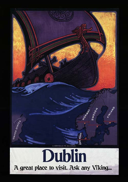 Viking Dublin Vintage Travel Poster