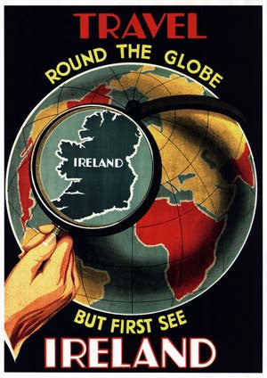 Travel Round The Globe Vintage Irish Travel Poster