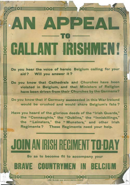 Appeal to Irishmen WW1 poster