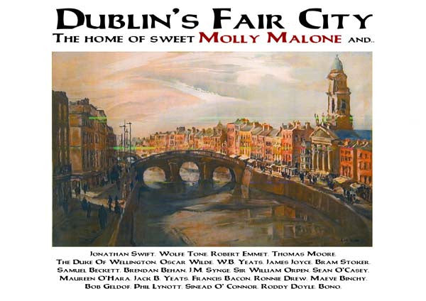 Dublin's Famous Characters Vintage Travel Posters