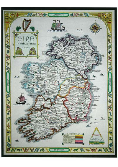 Map Of Ireland Print.16th Century Provinces And Family Name Heraldic Map Of Ireland