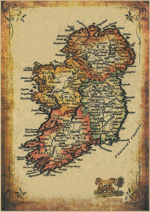 image about Printable Maps of Ireland known as 17th Century Map of Eire