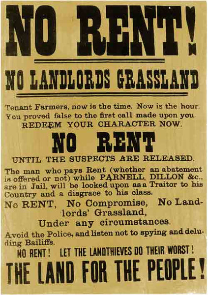 No Rent! Historical protest poster from the 19th century.