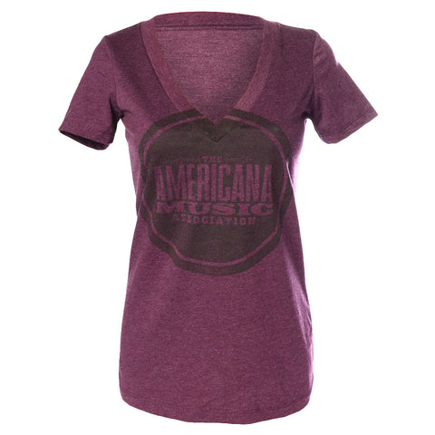 LADIES PLUM AMERICANA LOGO V-NECK TEE