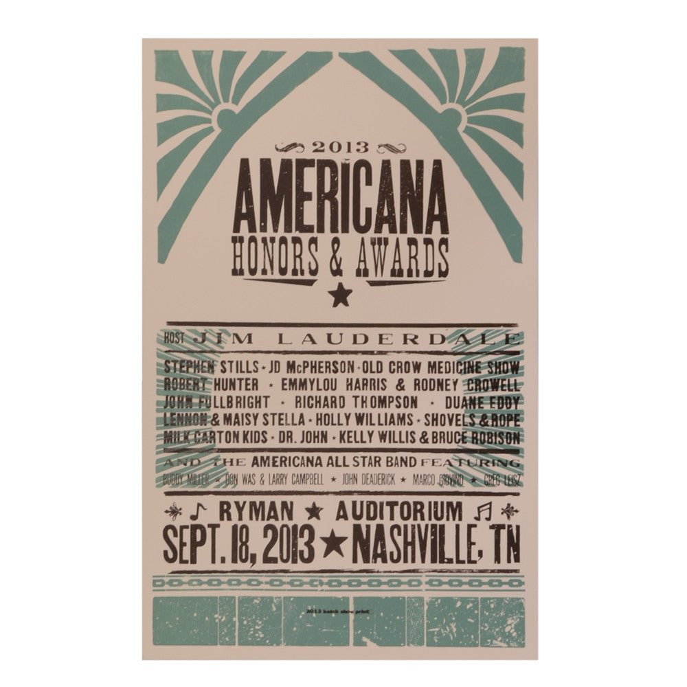 LIMITED EDITION 2013 AMERICANA AWARD SHOW POSTER