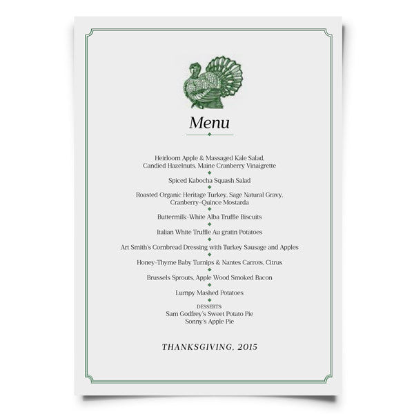 Personalized Thanksgiving Menu